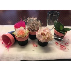 Krijtbord potje met roze rand ongevuld 9 cm