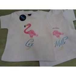 Baby t-shirtje ooievaar met uw naam
