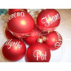 Kerstbal rood 6 cm gepersonaliseerd