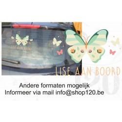 Autosticker vlinder 2 met je eigen naam 30-20 cm
